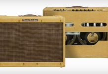 Amplificador Fender '59 Twin Amp signature do guitarrista Joe Bonamassa. Fotos da parte frontal e traseira.