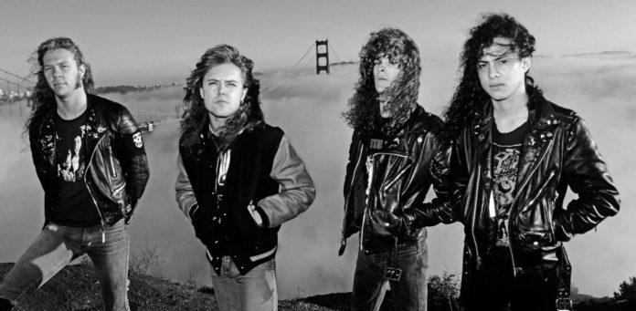 Membros do Metallica em foto de 1986