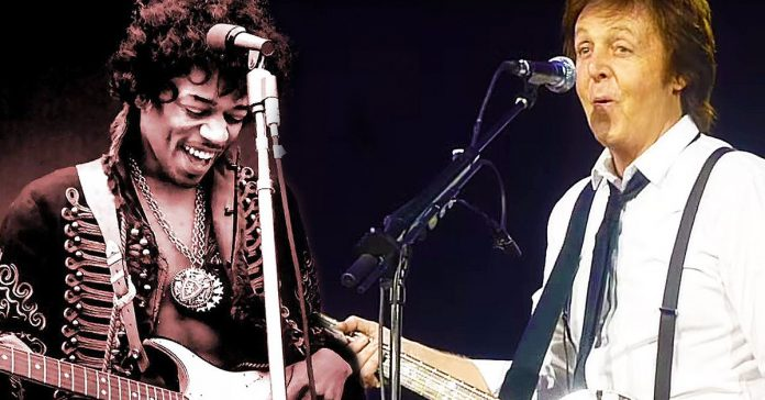 Hendrix ao lado de Paul McCartney